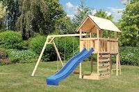 Akubi Kinderspielturm Danny mit Wellenrutsche, Doppelschaukelanbau und Kletterwand