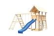Akubi Kinderspielturm Danny mit Satteldach inkl. Wellenrutsche, Doppelschaukelanbau, Klettergerüst und Kletterwand