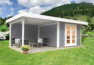 Wolff Finnhaus Gartenhaus Relax Lounge C mit 300 cm Anbau - 28 mm inkl. gratis Fundamentanker/Pads