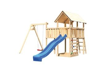 Akubi Kinderspielturm Danny mit Satteldach inkl. Wellenrutsche, Einzelschaukelanbau, Anbauplattform und Kletterwand