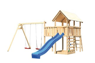 Akubi Kinderspielturm Danny mit Satteldach inkl. Wellenrutsche, Doppelschaukelanbau, Anbauplattform und Kletterwand