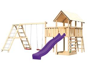 Akubi Kinderspielturm Danny mit Satteldach inkl. Wellenrutsche, Doppelschaukelanbau, Klettergerüst, Anbauplattform und Kletterwand