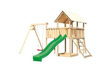 Akubi Kinderspielturm Danny mit Satteldach inkl. Wellenrutsche, Einzelschaukelanbau, Anbauplattform und Netzrampe