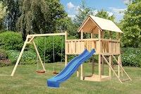 Akubi Kinderspielturm Danny mit Satteldach inkl. Wellenrutsche, Doppelschaukelanbau, Anbauplattform und Netzrampe
