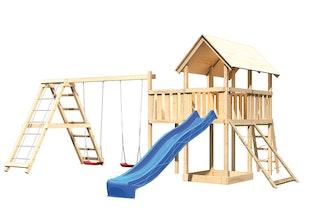 Akubi Kinderspielturm Danny mit Satteldach inkl. Wellenrutsche, Doppelschaukelanbau, Klettergerüst, Anbauplattform und Netzrampe