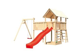 Akubi Kinderspielturm Danny mit Satteldach inkl. Wellenrutsche, Einzelschaukelanbau, Anbauplattform XL und Kletterwand