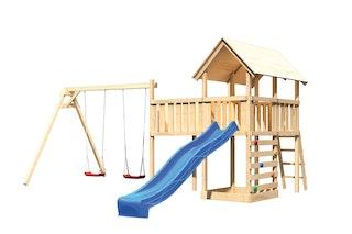 Akubi Kinderspielturm Danny mit Satteldach inkl. Wellenrutsche, Doppelschaukelanbau, Anbauplattform XL und Kletterwand