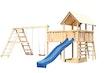 Akubi Kinderspielturm Danny mit Satteldach inkl. Wellenrutsche, Doppelschaukelanbau, Klettergerüst, Anbauplattform XL und Kletterwand