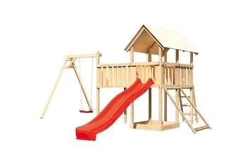 Akubi Kinderspielturm Danny mit Satteldach inkl. Wellenrutsche, Einzelschaukelanbau, Anbauplattform XL und Netzrampe