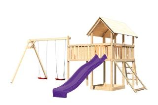 Akubi Kinderspielturm Danny mit Satteldach inkl. Wellenrutsche, Doppelschaukelanbau, Anbauplattform XL und Netzrampe