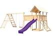 Akubi Kinderspielturm Danny mit Satteldach inkl. Wellenrutsche, Doppelschaukelanbau, Klettergerüst, Anbauplattform XL und Netzrampe
