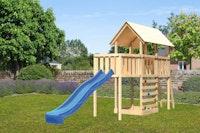 Akubi Kinderspielturm Danny inkl. Wellenrutsche, Anbauplattform und Kletterwand