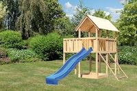 Akubi Kinderspielturm Danny inkl. Wellenrutsche, Anbauplattform und Netzrampe