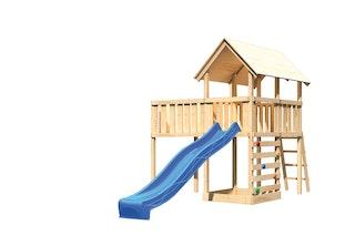 Akubi Kinderspielturm Danny inkl. Wellenrutsche, Anbauplattform XL und Kletterwand