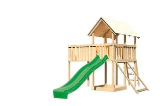 Akubi Kinderspielturm Danny inkl. Wellenrutsche, Anbauplattform XL und Netzrampe