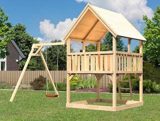 Akubi Kinderspielturm Luis mit Einzelschaukelanbau