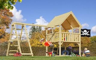 Akubi Kinderspielturm Luis mit Doppelschaukelanbau und Klettergerüst