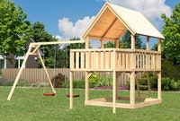 Akubi Kinderspielturm Luis mit Doppelschaukelanbau inkl. Anbauplattform