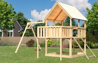 Akubi Kinderspielturm Luis mit Einzelschaukel, Anbauplattform und Netzrampe