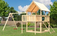Akubi Kinderspielturm Luis mit Doppelschaukel, Anbauplattform und Netzrampe