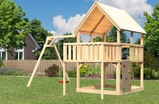 Akubi Kinderspielturm Luis mit Einzelschaukel, Anbauplattform und Kletterwand