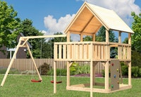 Akubi Kinderspielturm Luis mit Doppelschaukel, Anbauplattform und Kletterwand