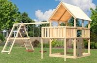Akubi Kinderspielturm Luis mit Doppelschaukelgerüst, Anbauplattform und Kletterwand