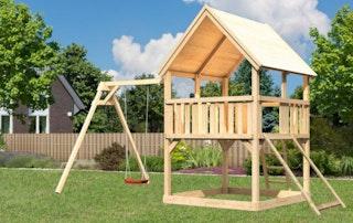 Akubi Kinderspielturm Luis mit Einzelschaukelanbau inkl. Netzrampe