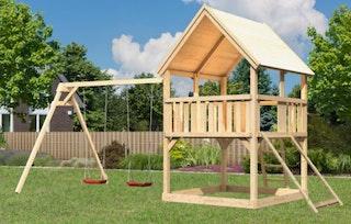Akubi Kinderspielturm Luis mit Doppelschaukelanbau inkl. Netzrampe