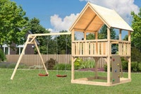 Akubi Kinderspielturm Luis mit Doppelschaukelanbau inkl. Kletterwand