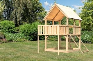 Akubi Kinderspielturm Luis inkl. Anbauplattform und Netzrampe