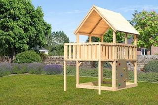 Akubi Kinderspielturm Luis inkl. Anbauplattform und Kletterwand