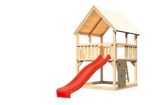 Akubi Kinderspielturm Luis mit Wellenrutsche und Kletterwand