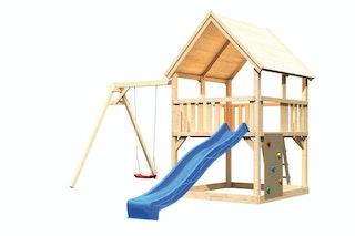 Akubi Kinderspielturm Luis mit Einzelschaukel, Kletterwand und Wellenrutsche