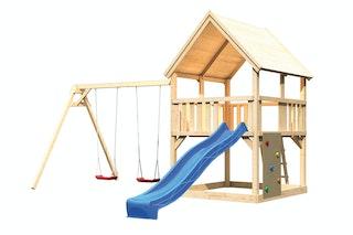 Akubi Kinderspielturm Luis mit Doppelschaukel, Kletterwand und Wellenrutsche