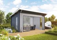 Wolff Finnhaus Gartenhaus Trondheim 70-D isolierverglast XL mit Schiebetür inkl. gratis Fundamentanker/Pads