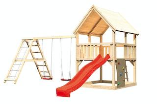 Akubi Kinderspielturm Luis mit Doppelschaukelklettergerüst, Kletterwand und Wellenrutsche
