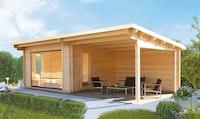 Wolff Finnhaus Gartenhaus Trondheim 70-D isolierverglast XL mit Schiebetür und Anbau 300/400 cm
