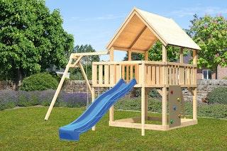Akubi Kinderspielturm Luis mit Einzelschaukel, Kletterwand, Anbauplattform und Wellenrutsche