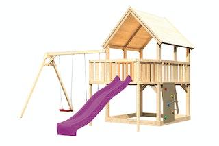 Akubi Kinderspielturm Luis mit Doppelschaukel, Anbauplattform, Kletterwand und Wellenrutsche