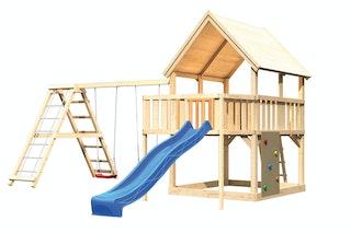 Akubi Kinderspielturm Luis mit Doppelschaukelklettergerüst, Kletterwand, Anbauplattform und Wellenrutsche