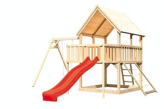 Akubi Kinderspielturm Luis mit Einzelschaukel, Anbauplattform, Netzrampe und Wellenrutsche