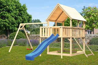 Akubi Kinderspielturm Luis mit Doppelschaukel, Anbauplattform, Netzrampe und Wellenrutsche