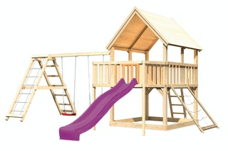 Akubi Kinderspielturm Luis mit Doppelschaukelklettergerüst, Netzrampe, Anbauplattform und Wellenrutsche