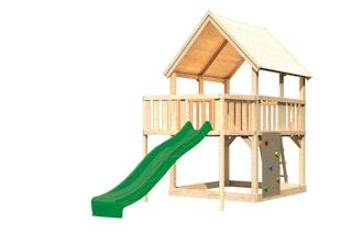 Akubi Kinderspielturm Luis mit Anbauplattform sowie Kletterwand und Wellenrutsche