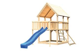Akubi Kinderspielturm Luis mit Anbauplattform sowie Netzrampe und Wellenrutsche