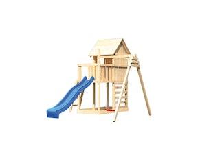 Akubi Stelzenhaus Frieda mit Wellenrutsche, Einzelschaukelanbau und Kletterwand