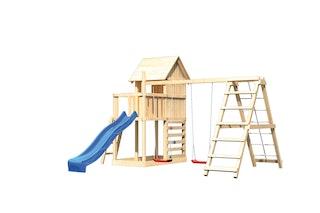Akubi Stelzenhaus Frieda mit Wellenrutsche, Doppelschaukelanbau, Klettergerüst und Kletterwand