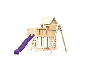 Akubi Stelzenhaus Frieda mit Wellenrutsche, Einzelschaukelanbau, Anbauplattform und Kletterwand
