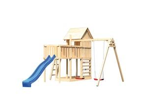 Akubi Stelzenhaus Frieda mit Wellenrutsche, Doppelschaukelanbau, Anbauplattform und Kletterwand